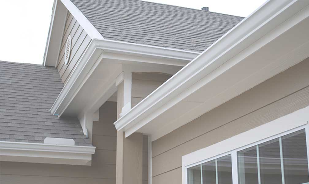 White gutters offer a traditional look for this West Knoxville home. Seamless aluminum gutters are a good value compared to more costly alternatives.